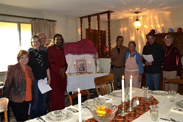 Swami at a dinner with friends.